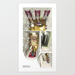 PHANTOM THREAD's house in watercolor. First level Art Print