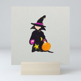 Witch Sorcerer October Halloween Trick or Treat Toddler Mini Art Print