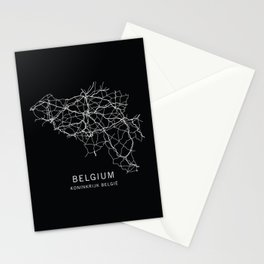 Belgium Road Map  Stationery Cards