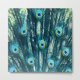 Painted Peacock Feathers Metal Print