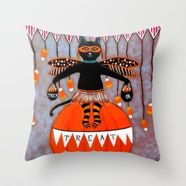 Circus Kitty Trick or Treat Halloween Throw Pillow