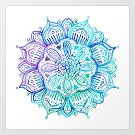 Iridescent Aqua and Purple Watercolor Mandala Art Print