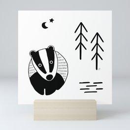badger, scandinavian forest animals, black & white Mini Art Print
