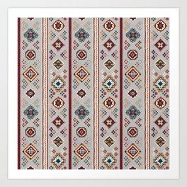 Caucasian Rugs(Stripe) - White Art Print