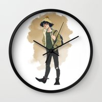 grantaire Wall Clocks featuring Grantaire  by icarusdrunk