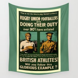 British rugby, football players call for duty Wall Tapestry