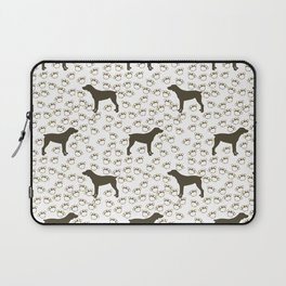 Big Brown Dog and Paw Prints Laptop Sleeve