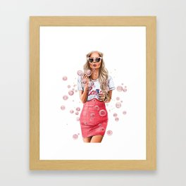 Girl with bubbles Framed Art Print