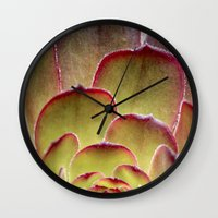 succulent Wall Clocks featuring Succulent by Shy Photog