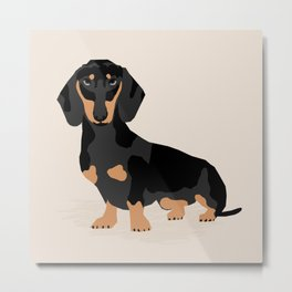 Dachshund doxie pet portrait hot dog weener dog breed funny small dogs puppy gifts for dachshund  Metal Print
