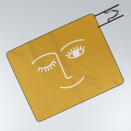 wink / mustard Picnic Blanket