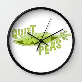 Quiet Peas (Quiet Please) Vegetable Pun Wall Clock