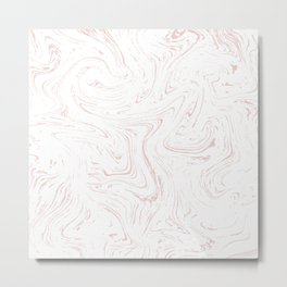Modern abstract rose pink white watercolor marble Metal Print
