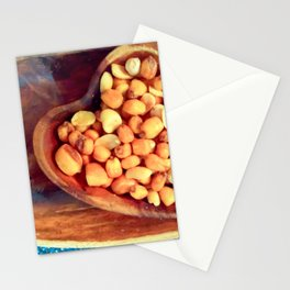 Heart bowl with healthy nuts snacks Stationery Cards