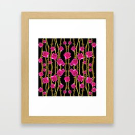 "FUCHSIA PINK ""ROSES & THORNS""  BLACK ART PATTERNS Framed Art Print"