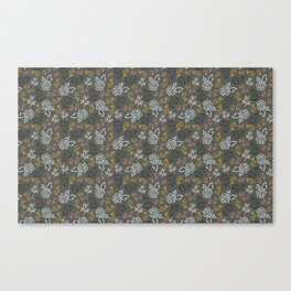 Tossed Spring Florals and Leaves Canvas Print