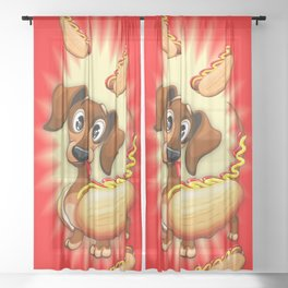 Dachshund Hot Dog Cute and Funny Character Sheer Curtain