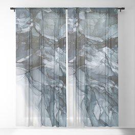 Dark Payne's Grey Flowing Abstract Painting Sheer Curtain