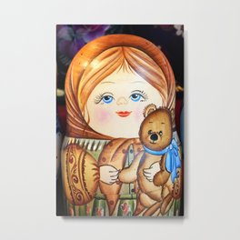 Matrioska. Little girl with teddy bear. Metal Print