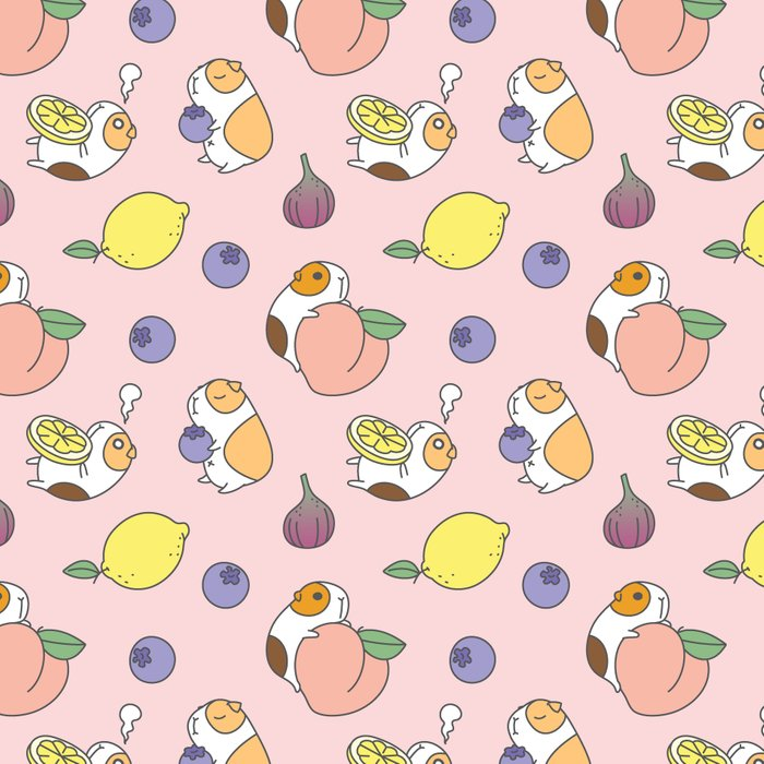 Guinea pig and fruits pattern Leggings