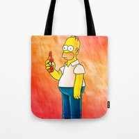 homer Tote Bags featuring Homer & Duff by Lukas Stobie