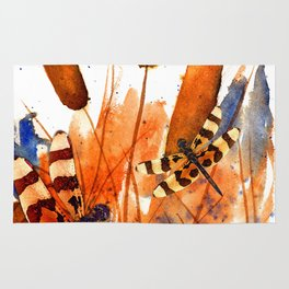 Banded Dragonflies and Cattails Rug