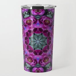 Floral finery - kaleidoscope of blue, plum, rose and green 1650 Travel Mug