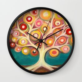 Tree of life with colorful abstract circles Wall Clock