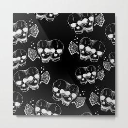 GEMINI - white on black - twins  - conjoined skull zodiac series doodle Metal Print