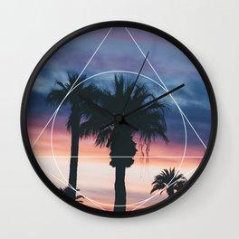 Sunset Palms - Geometric Photography Wall Clock