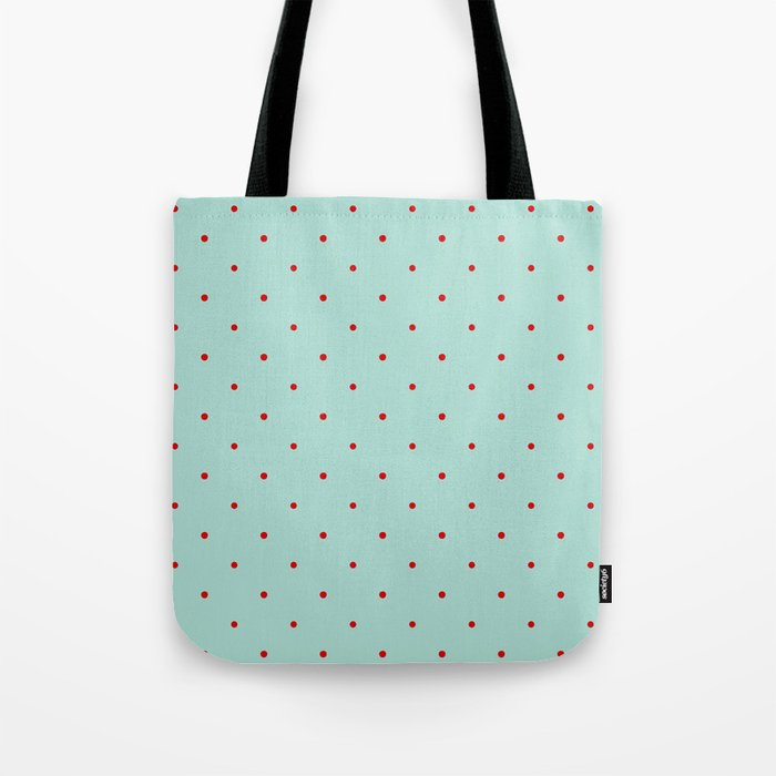 Blue with Red Dots Tote Bag