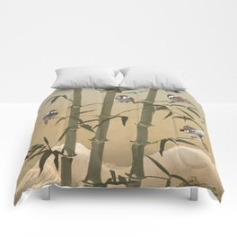 Sparrows And Bamboo Comforters