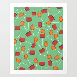 Fun digital Mexican paletas pattern green Art Print