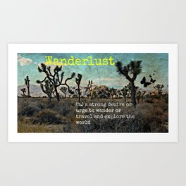 Wanderlust In The Wild Travel Quote Art Print