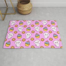 Cute happy funny Kawaii baby kittens, yummy colorful cupcakes and chocolate chip cookies cartoon light pastel pink pattern design. Nursery decor ideas. Rug