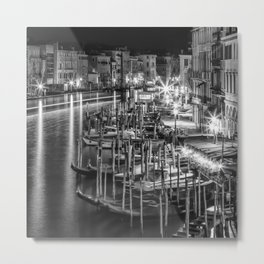VENICE View from Rialto Bridge | Monochrome Metal Print
