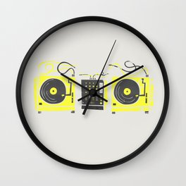 DJ Vinyl Decks And Mixer Wall Clock