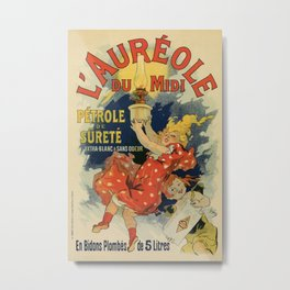 Vintage French lamp oil ad by Chéret Metal Print
