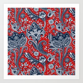 Red White & Blue Floral Paisley Art Print