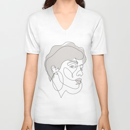 Curly Liny - single line art Unisex V-Neck