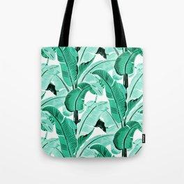 jungle leaf pattern mint Tote Bag