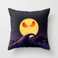 jack skellington Throw Pillows featuring Starry Night Jack Skellington by ThreeBoys