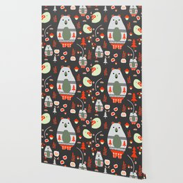 Christmas bears and birds Wallpaper