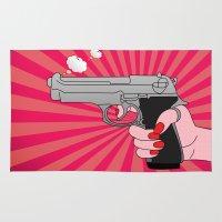 comics Area & Throw Rugs featuring comics gun  by mark ashkenazi