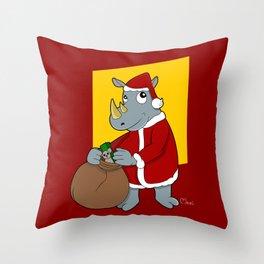 Christmas Rhinoceros  Throw Pillow