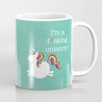 unicorn Mugs featuring Unicorn - I'm a maturely speaking unicorn!!! by LucyDynamite