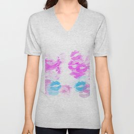 kisses lipstick pattern abstract background in pink and blue Unisex V-Neck