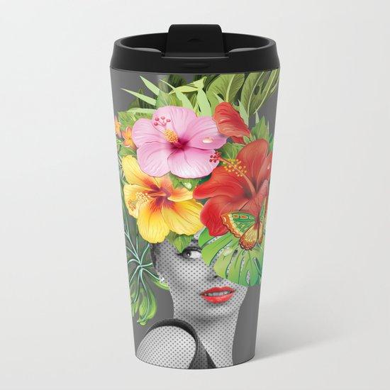 woman floral Metal Travel Mug