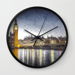 Westminster At Night Snow Wall Clock