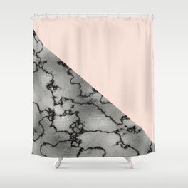 Peach and silver marble metallic Shower Curtain
